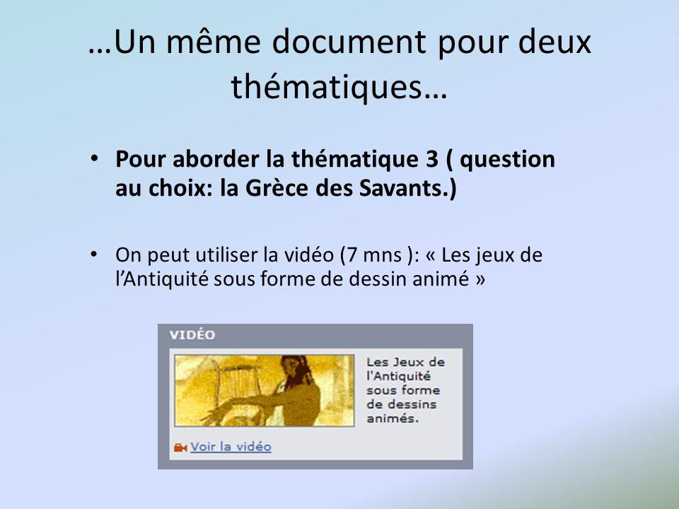 …Un même document pour deux thématiques… Pour aborder la thématique 3 ( question au choix: la Grèce des Savants.) On peut utiliser la vidéo (7 mns ):