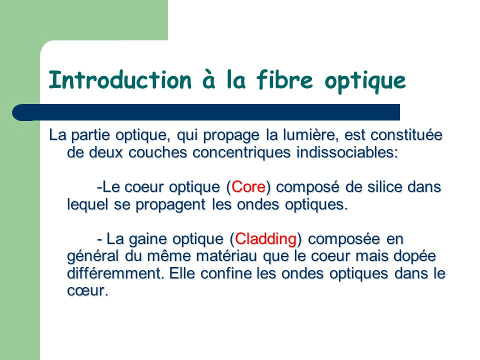 Introduction à la fibre optique La partie optique, qui propage la lumière, est constituée de deux couches concentriques indissociables: -Le coeur opti