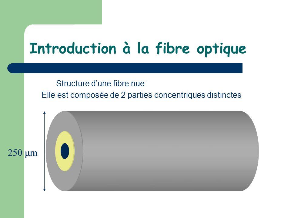 Introduction à la fibre optique Structure dune fibre nue: Elle est composée de 2 parties concentriques distinctes 250 μm