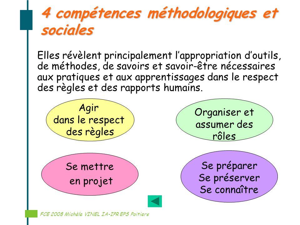 Réalisation Michèle VINEL IA-IPR EPS 4 compétences méthodologiques et sociales Elles révèlent principalement lappropriation doutils, de méthodes, de s
