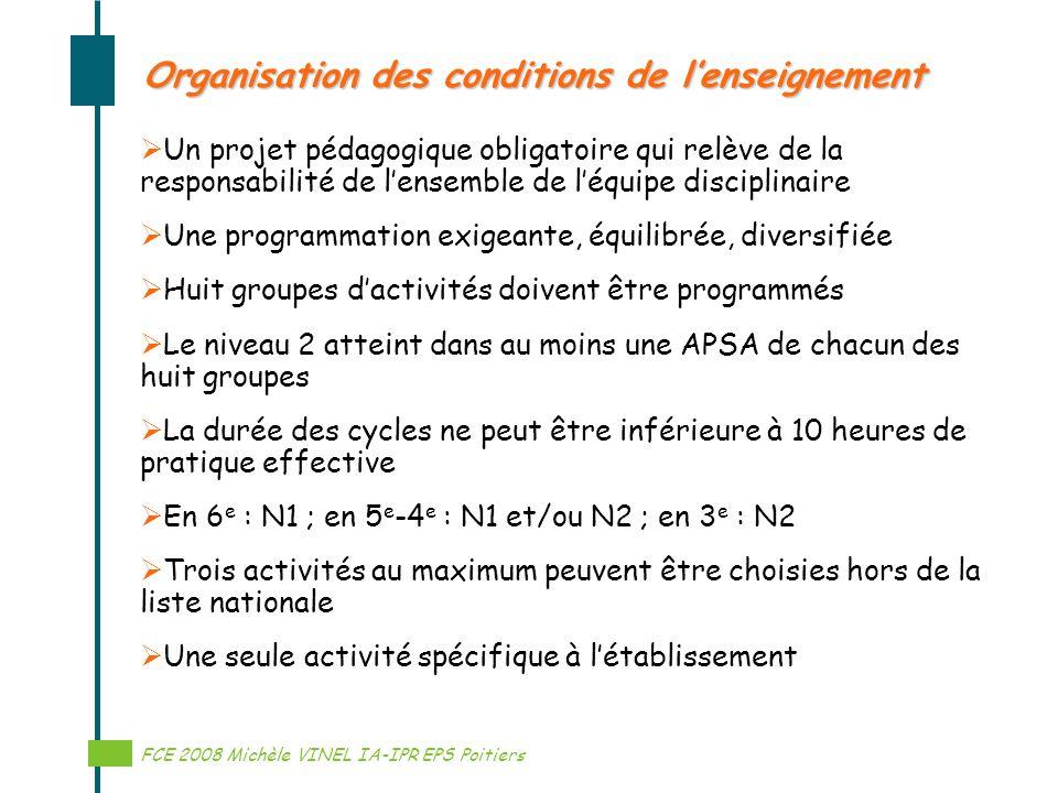 Réalisation Michèle VINEL IA-IPR EPS Organisation des conditions de lenseignement Un projet pédagogique obligatoire qui relève de la responsabilité de