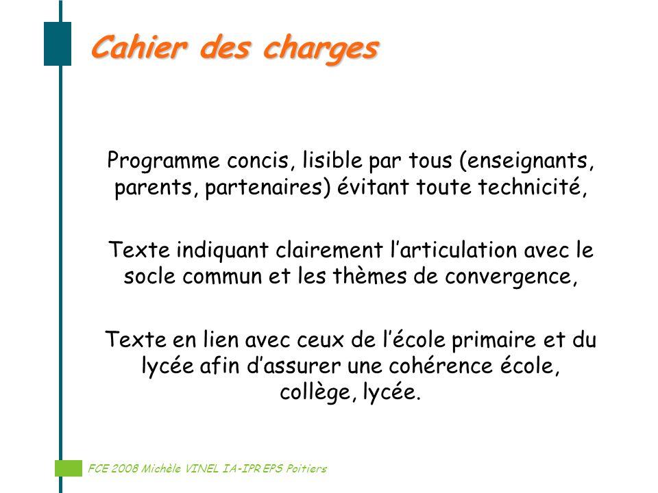 Programme concis, lisible par tous (enseignants, parents, partenaires) évitant toute technicité, Texte indiquant clairement larticulation avec le socl