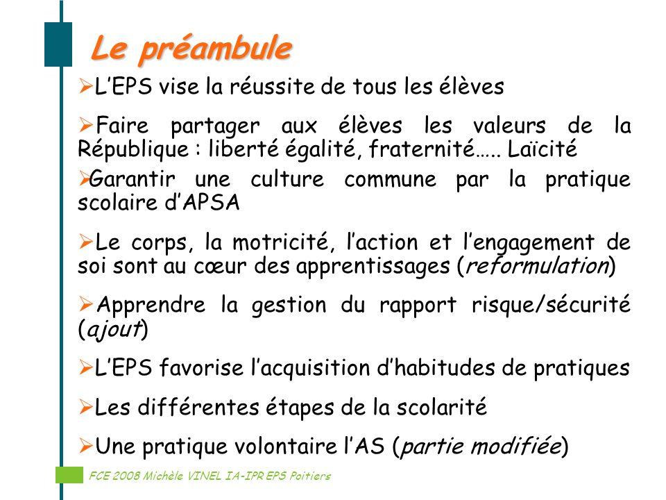 Réalisation Michèle VINEL IA-IPR EPS Le préambule LEPS vise la réussite de tous les élèves Faire partager aux élèves les valeurs de la République : li