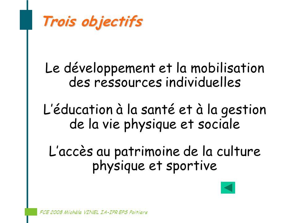 Réalisation Michèle VINEL IA-IPR EPS Trois objectifs Le développement et la mobilisation des ressources individuelles Léducation à la santé et à la ge