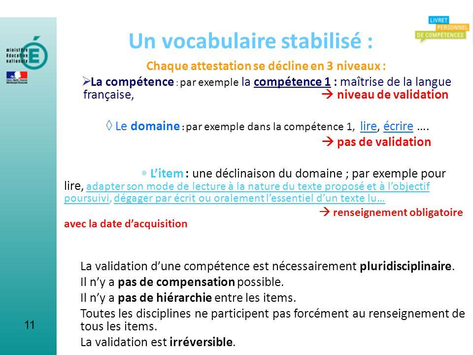 11 Un vocabulaire stabilisé : Chaque attestation se décline en 3 niveaux : La compétence : par exemple la compétence 1 : maîtrise de la langue françai