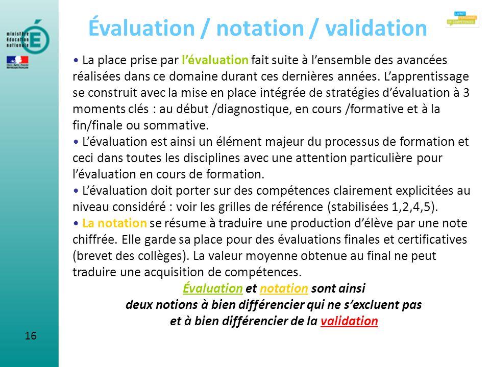 16 Évaluation / notation / validation La place prise par lévaluation fait suite à lensemble des avancées réalisées dans ce domaine durant ces dernière