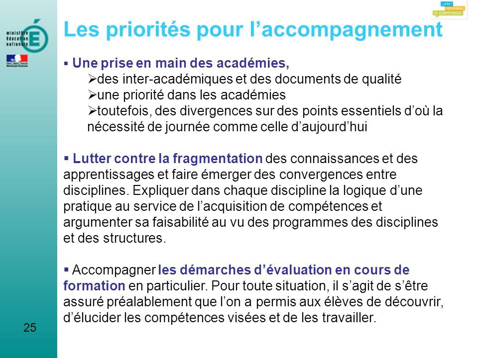 25 Les priorités pour laccompagnement Une prise en main des académies, des inter-académiques et des documents de qualité une priorité dans les académi
