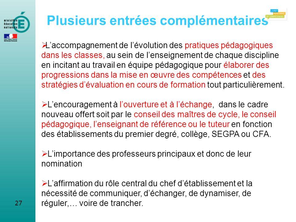 27 Plusieurs entrées complémentaires Laccompagnement de lévolution des pratiques pédagogiques dans les classes, au sein de lenseignement de chaque dis
