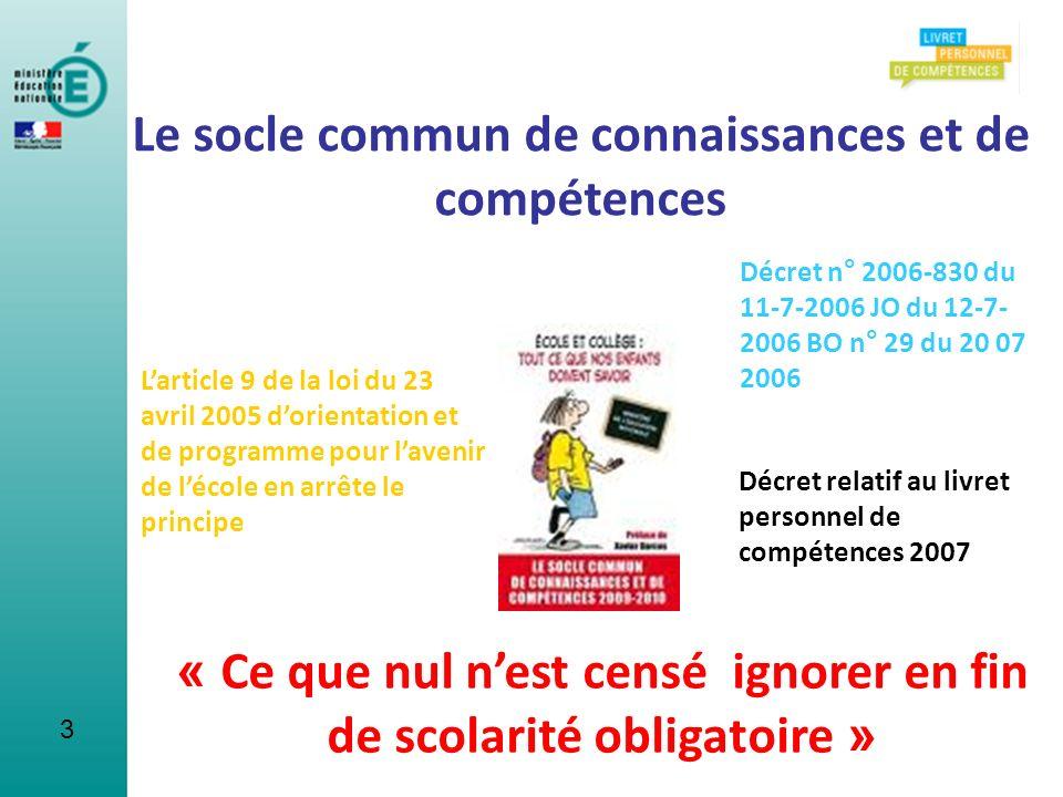 Un cadre européen de référence (2004) Le socle commun de connaissances et de compétences sinscrit dans la logique des résolutions européennes sur lorientation et la formation tout au long de la vie.