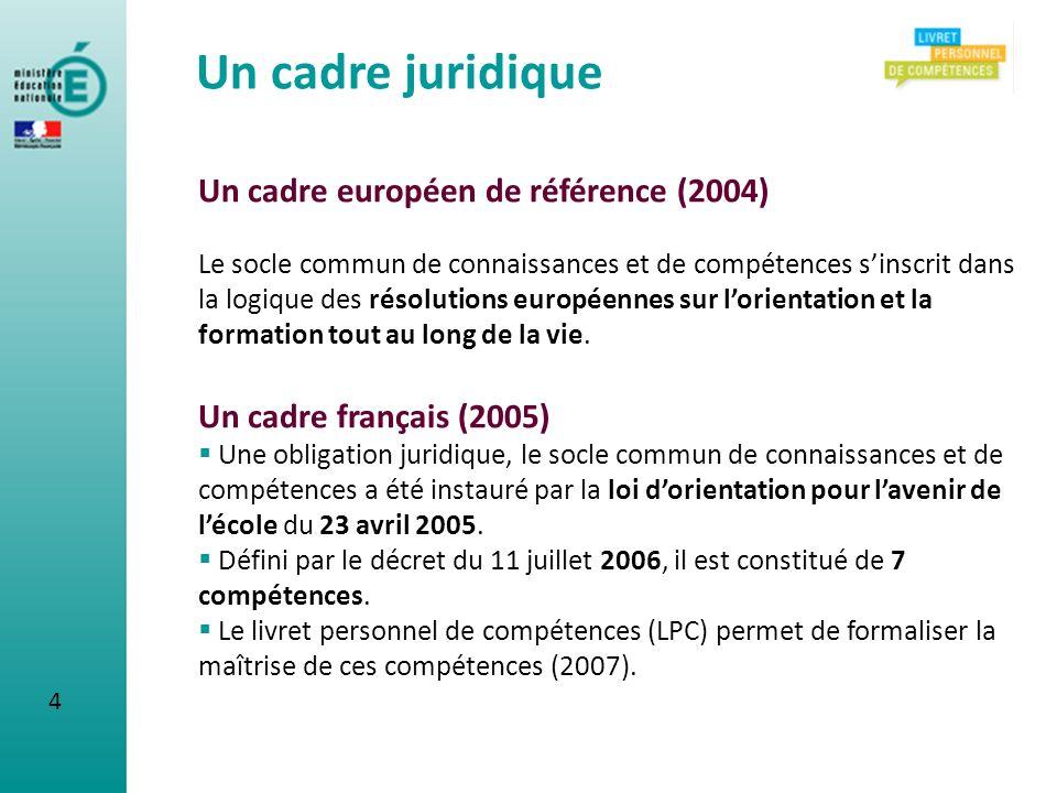Un cadre européen de référence (2004) Le socle commun de connaissances et de compétences sinscrit dans la logique des résolutions européennes sur lori