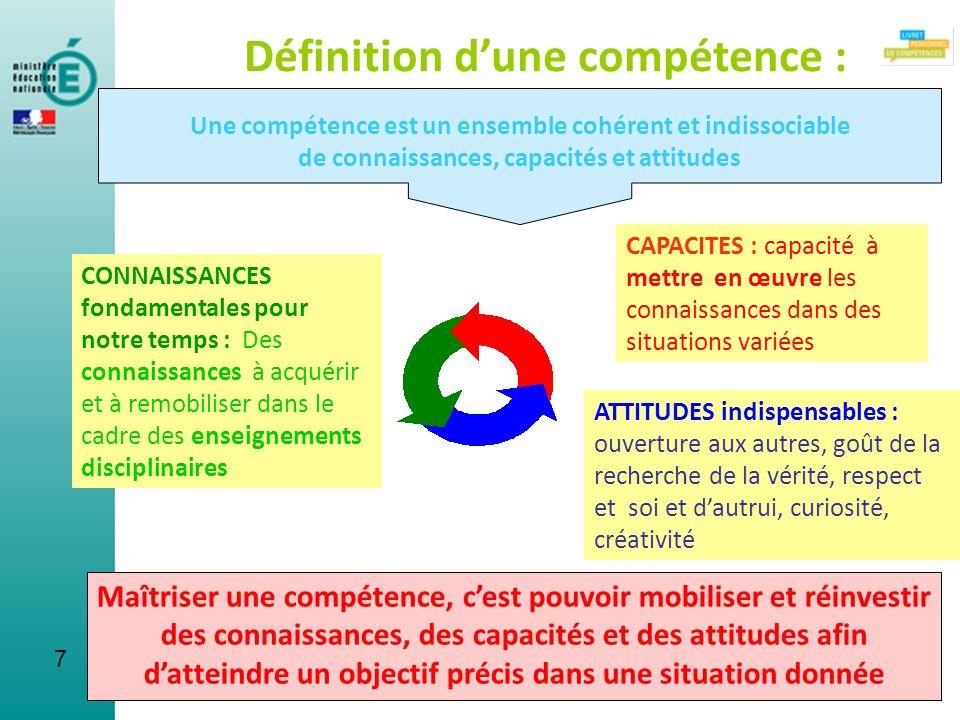 7 Définition dune compétence : Une compétence est un ensemble cohérent et indissociable de connaissances, capacités et attitudes CAPACITES : capacité
