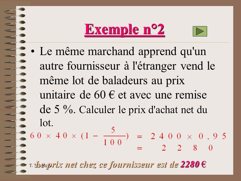 T. Tchangai Exemple n°2 Calculer le prix d'achat net du lot.Le même marchand apprend qu'un autre fournisseur à l'étranger vend le même lot de baladeur