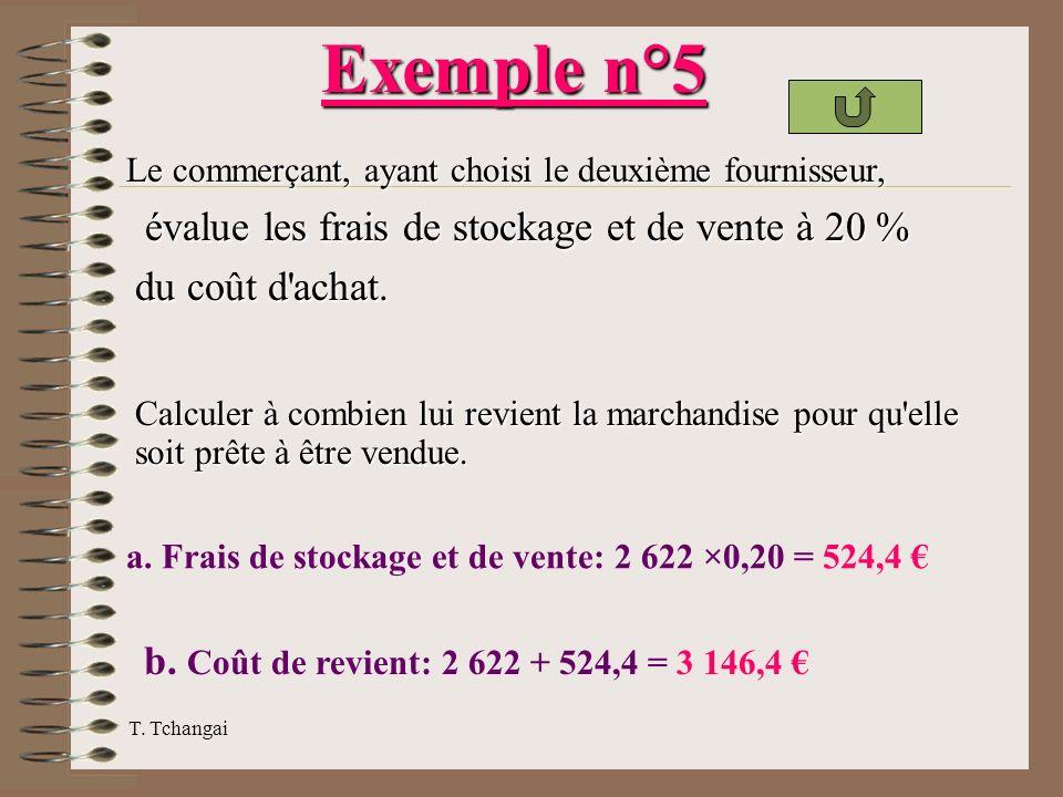 T. Tchangai Calculer à combien lui revient la marchandise pour qu'elle soit prête à être vendue. a. Frais de stockage et de vente: 2 622 ×0,20 = 524,4