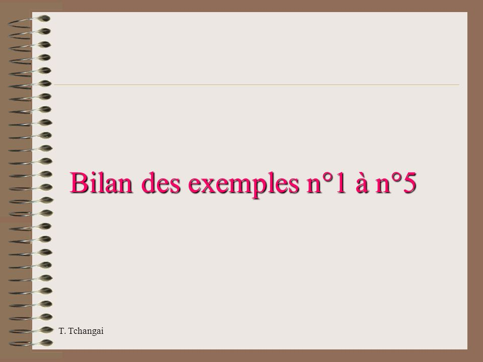 T. Tchangai Bilan des exemples n°1 à n°5