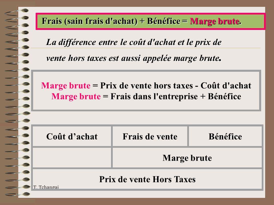 T. Tchangai Frais (sain frais d'achat) + Bénéfice = Marge brute. Frais (sain frais d'achat) + Bénéfice = Marge brute. La différence entre le coût d'ac