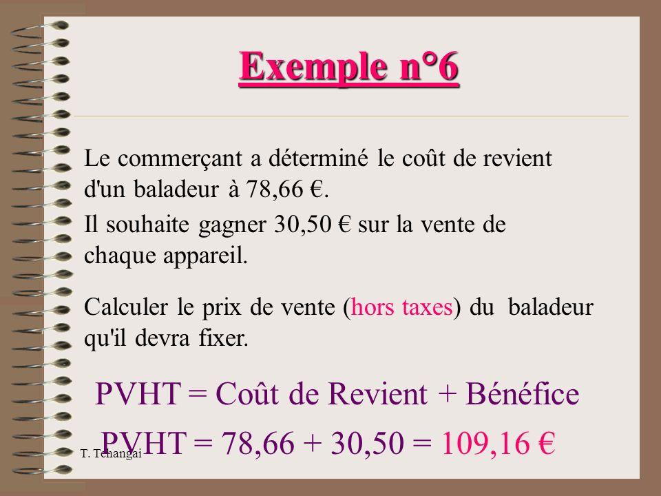T. Tchangai Exemple n°6 Le commerçant a déterminé le coût de revient d'un baladeur à 78,66. Il souhaite gagner 30,50 sur la vente de chaque appareil.