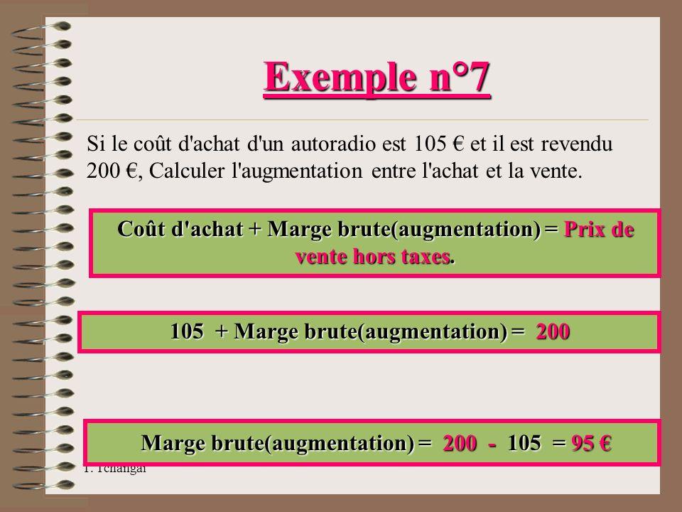 T. Tchangai Exemple n°7 Si le coût d'achat d'un autoradio est 105 et il est revendu 200, Calculer l'augmentation entre l'achat et la vente. Coût d'ach