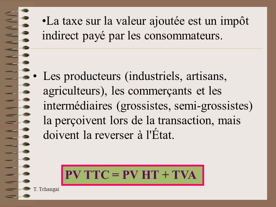 T. Tchangai Les producteurs (industriels, artisans, agriculteurs), les commerçants et les intermédiaires (grossistes, semi-grossistes) la perçoivent l