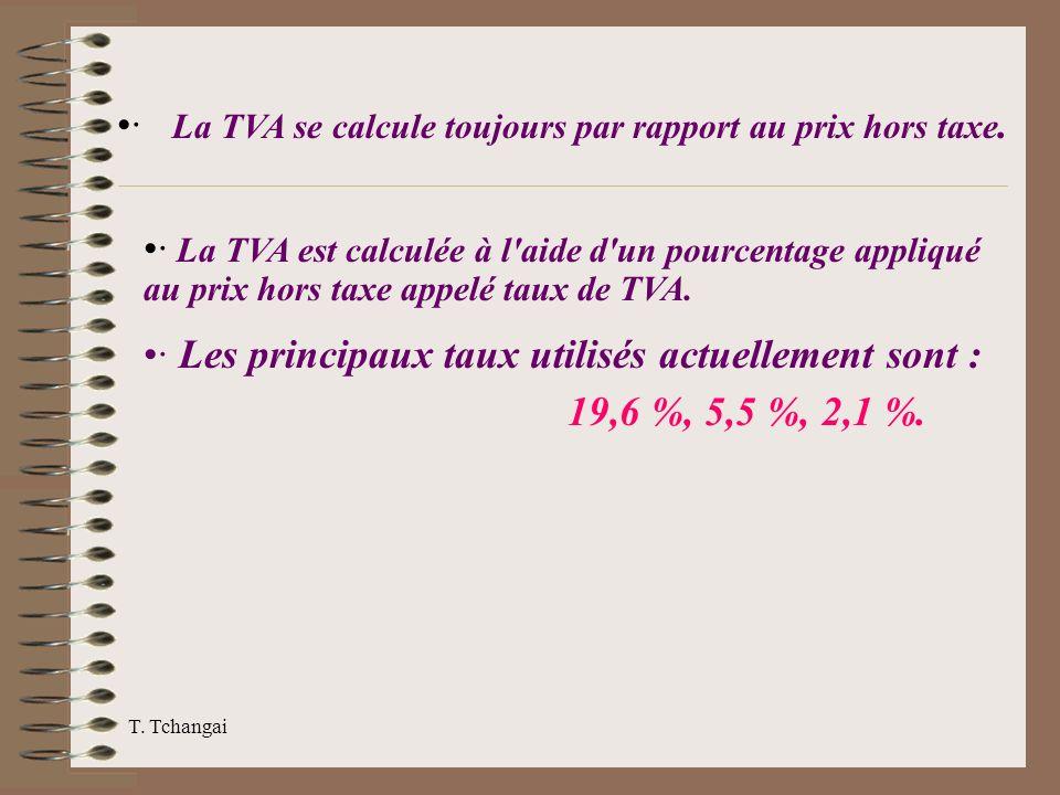 T. Tchangai · La TVA se calcule toujours par rapport au prix hors taxe. · La TVA est calculée à l'aide d'un pourcentage appliqué au prix hors taxe app