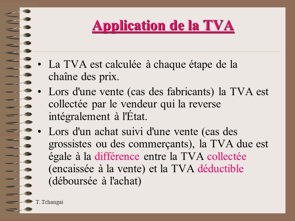 Application de la TVA La TVA est calculée à chaque étape de la chaîne des prix. Lors d'une vente (cas des fabricants) la TVA est collectée par le vend