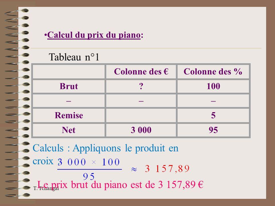 T. Tchangai Colonne des Colonne des % Brut?100 ––– Remise 5 Net3 00095 Calculs : Appliquons le produit en croix : Le prix brut du piano est de 3 157,8