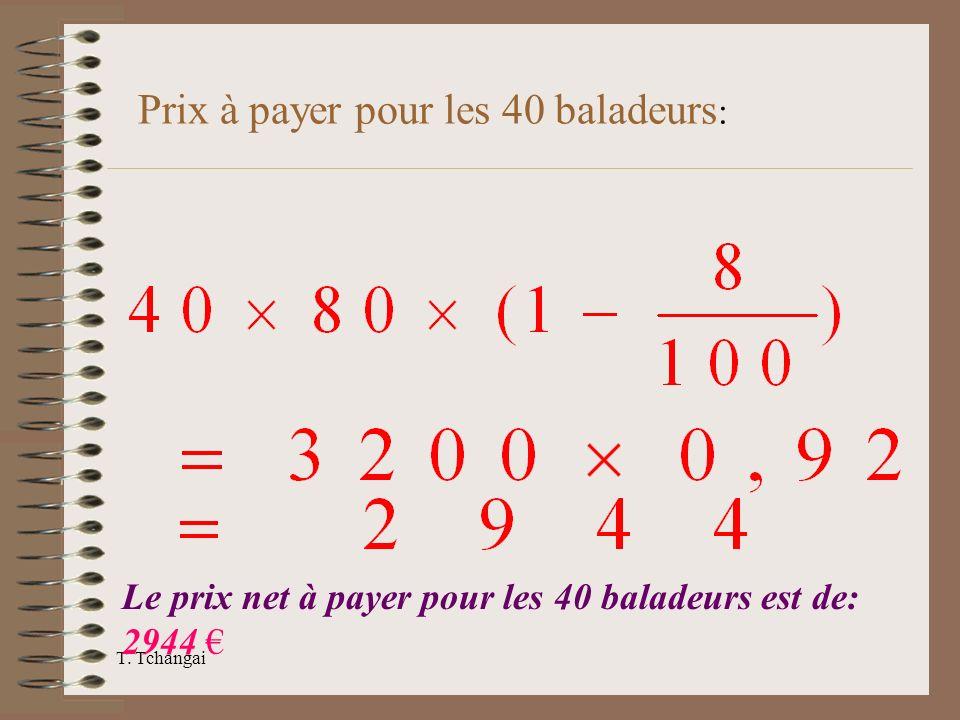 T. Tchangai Le prix net à payer pour les 40 baladeurs est de: 2944 Prix à payer pour les 40 baladeurs :