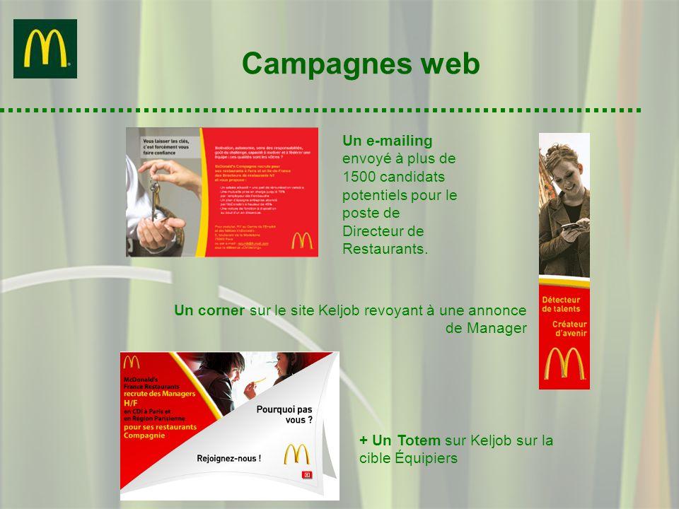 Campagnes web Un e-mailing envoyé à plus de 1500 candidats potentiels pour le poste de Directeur de Restaurants. Un corner sur le site Keljob revoyant
