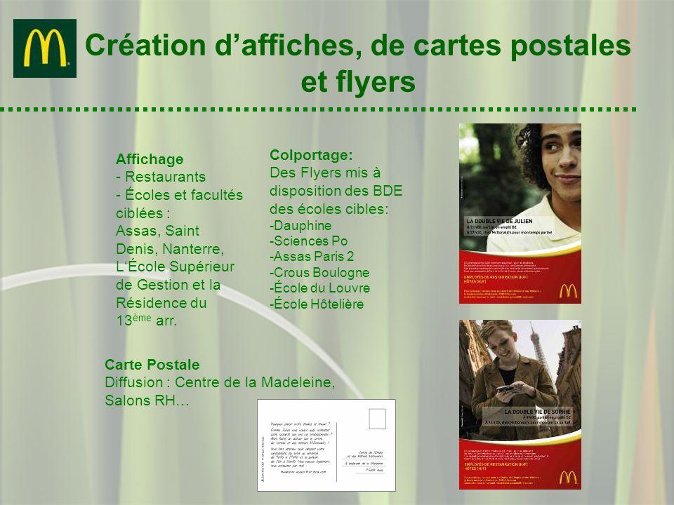 Création daffiches, de cartes postales et flyers Affichage - Restaurants - Écoles et facultés ciblées : Assas, Saint Denis, Nanterre, LÉcole Supérieur