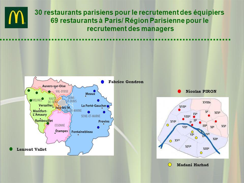 30 restaurants parisiens pour le recrutement des équipiers 69 restaurants à Paris/ Région Parisienne pour le recrutement des managers Nicolas PIRON Ma