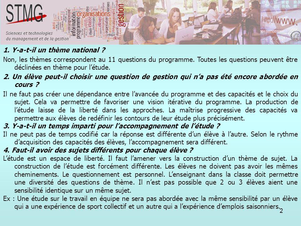 2 1. Y-a-t-il un thème national ? Non, les thèmes correspondent au 11 questions du programme. Toutes les questions peuvent être déclinées en thème pou