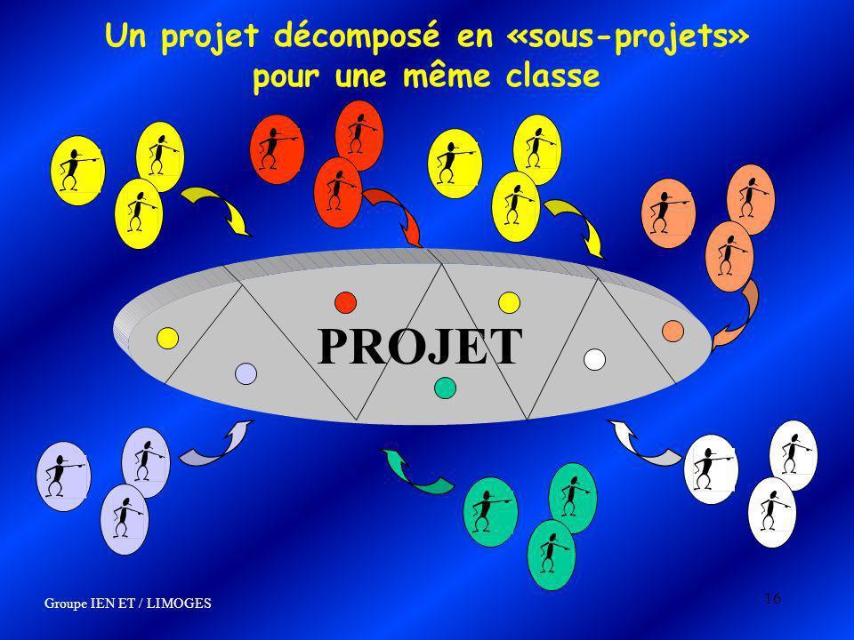 16 Un projet décomposé en «sous-projets» pour une même classe Groupe IEN ET / LIMOGES PROJET