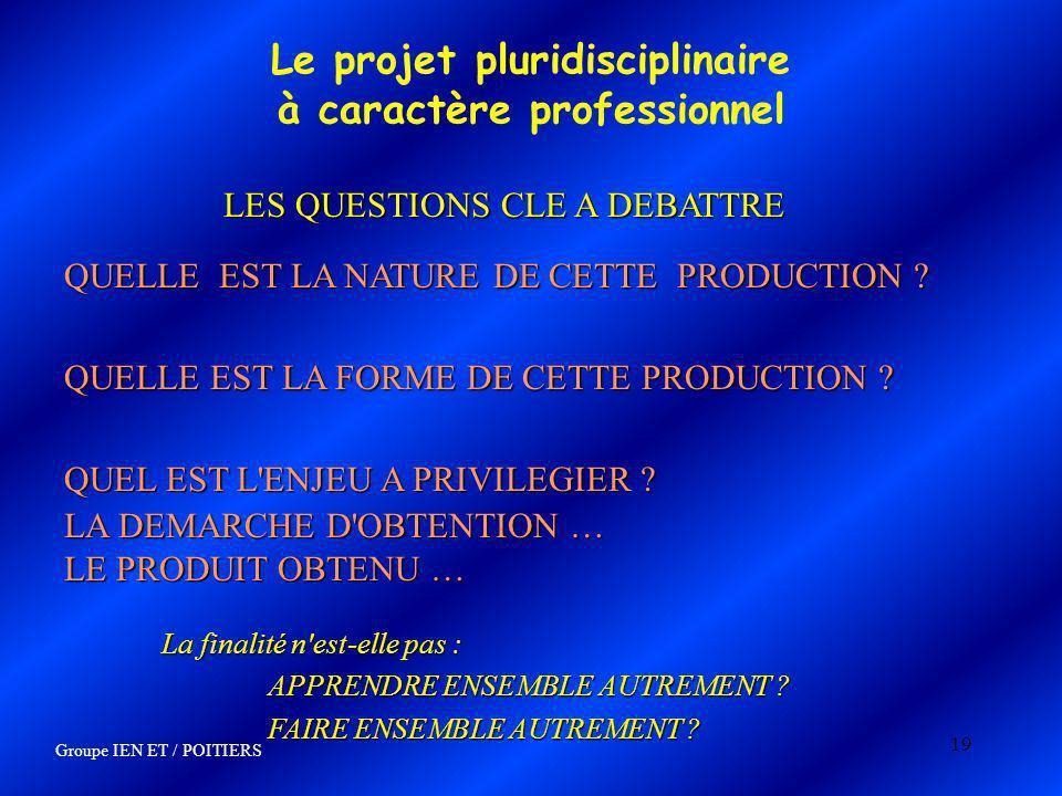 19 Le projet pluridisciplinaire à caractère professionnel QUELLE EST LA NATURE DE CETTE PRODUCTION ? QUEL EST L'ENJEU A PRIVILEGIER ? LA DEMARCHE D'OB