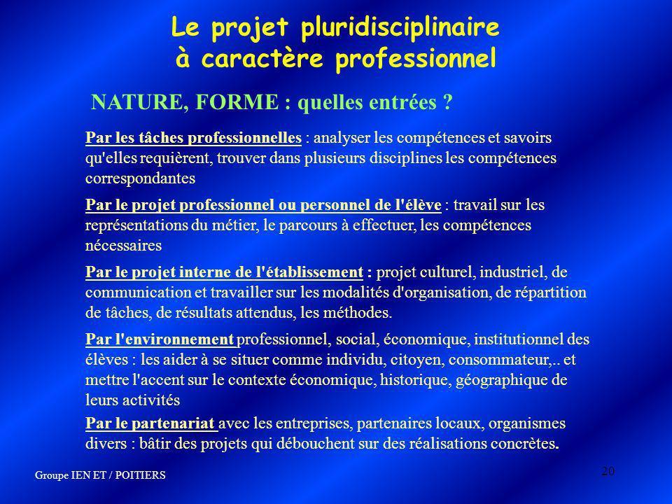 20 Le projet pluridisciplinaire à caractère professionnel NATURE, FORME : quelles entrées ? Par les tâches professionnelles : analyser les compétences
