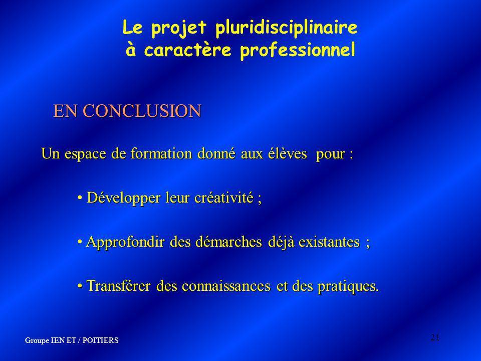 21 Le projet pluridisciplinaire à caractère professionnel EN CONCLUSION Un espace de formation donné aux élèves pour : Développer leur créativité ; Ap