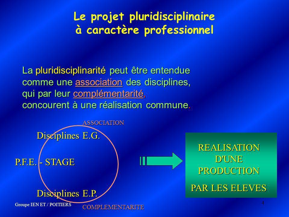 4 Le projet pluridisciplinaire à caractère professionnel La pluridisciplinarité peut être entendue comme une association des disciplines, qui par leur