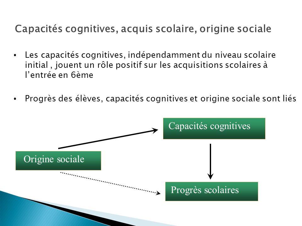 26 Origine sociale Capacités cognitives Progrès scolaires Capacités cognitives, acquis scolaire, origine sociale Les capacités cognitives, indépendamment du niveau scolaire initial, jouent un rôle positif sur les acquisitions scolaires à lentrée en 6ème Progrès des élèves, capacités cognitives et origine sociale sont liés