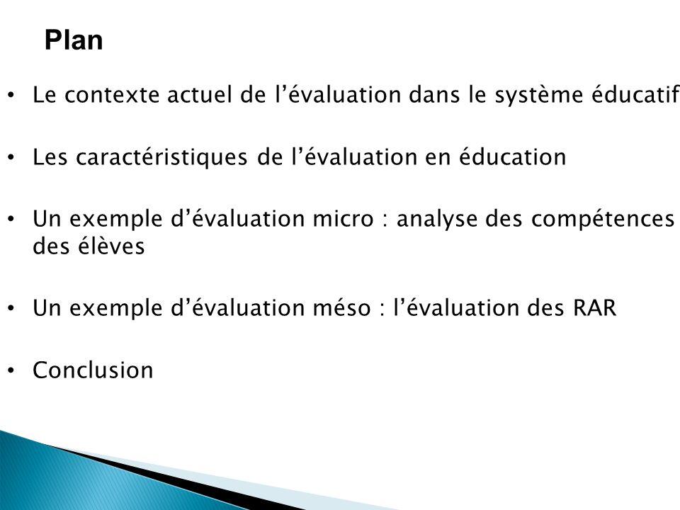 Plan Le contexte actuel de lévaluation dans le système éducatif Les caractéristiques de lévaluation en éducation Un exemple dévaluation micro : analyse des compétences des élèves Un exemple dévaluation méso : lévaluation des RAR Conclusion