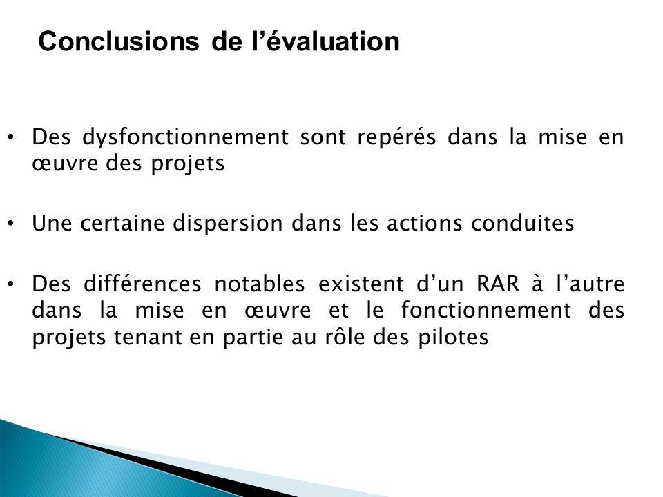 Conclusions de lévaluation Des dysfonctionnement sont repérés dans la mise en œuvre des projets Une certaine dispersion dans les actions conduites Des différences notables existent dun RAR à lautre dans la mise en œuvre et le fonctionnement des projets tenant en partie au rôle des pilotes