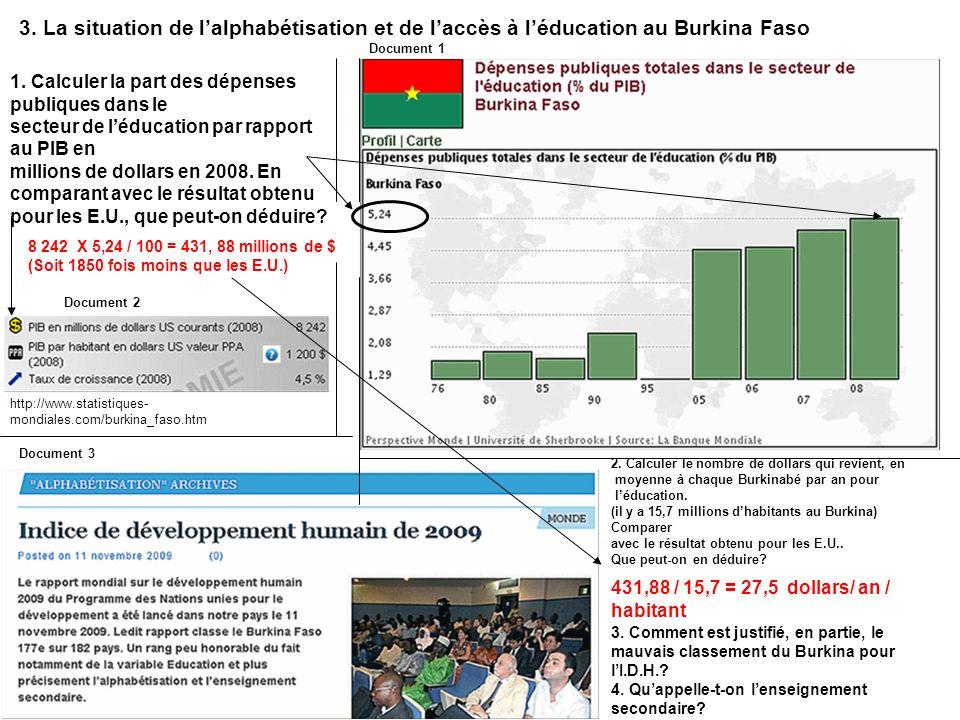 http://www.statistiques- mondiales.com/burkina_faso.htm 3. La situation de lalphabétisation et de laccès à léducation au Burkina Faso 1. Calculer la p