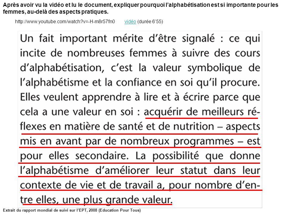 Extrait du rapport mondial de suivi sur lEPT, 2008 (Education Pour Tous) Après avoir vu la vidéo et lu le document, expliquer pourquoi lalphabétisatio