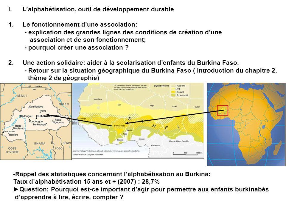 I.Lalphabétisation, outil de développement durable 1.Le fonctionnement dune association: - explication des grandes lignes des conditions de création d