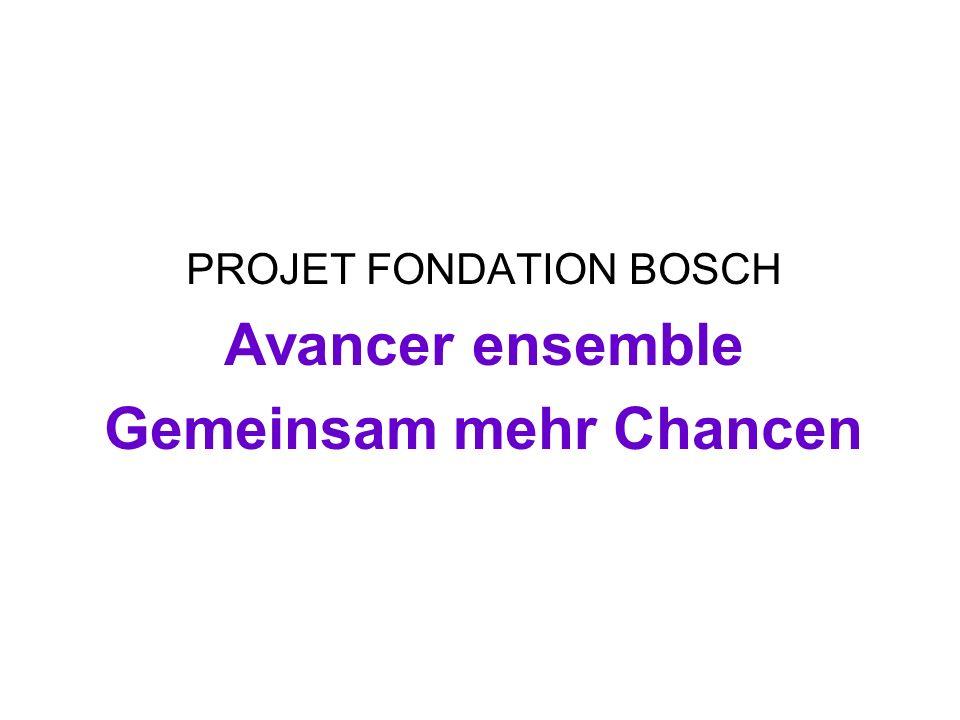PROJET FONDATION BOSCH Avancer ensemble Gemeinsam mehr Chancen