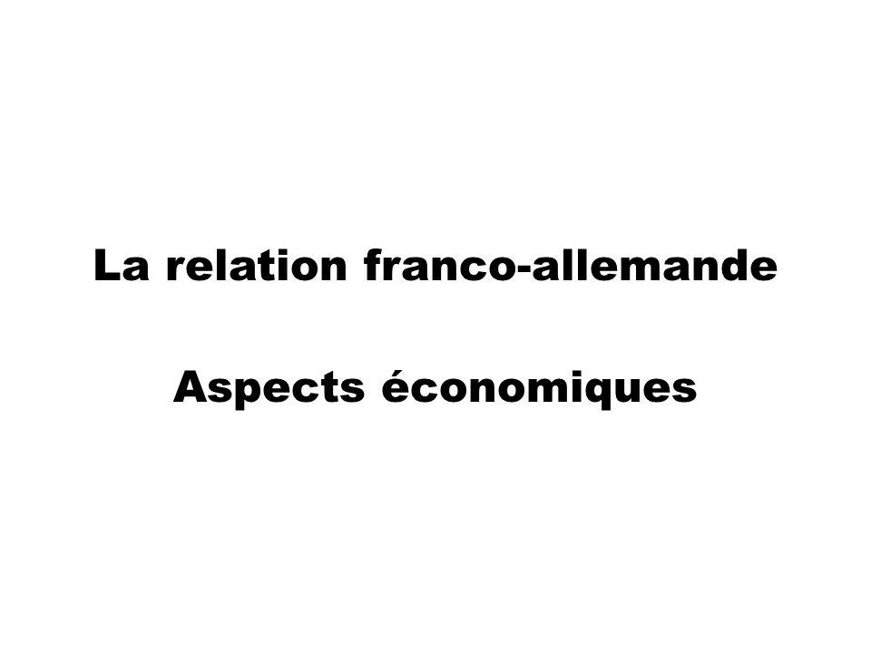 La relation franco-allemande Aspects économiques