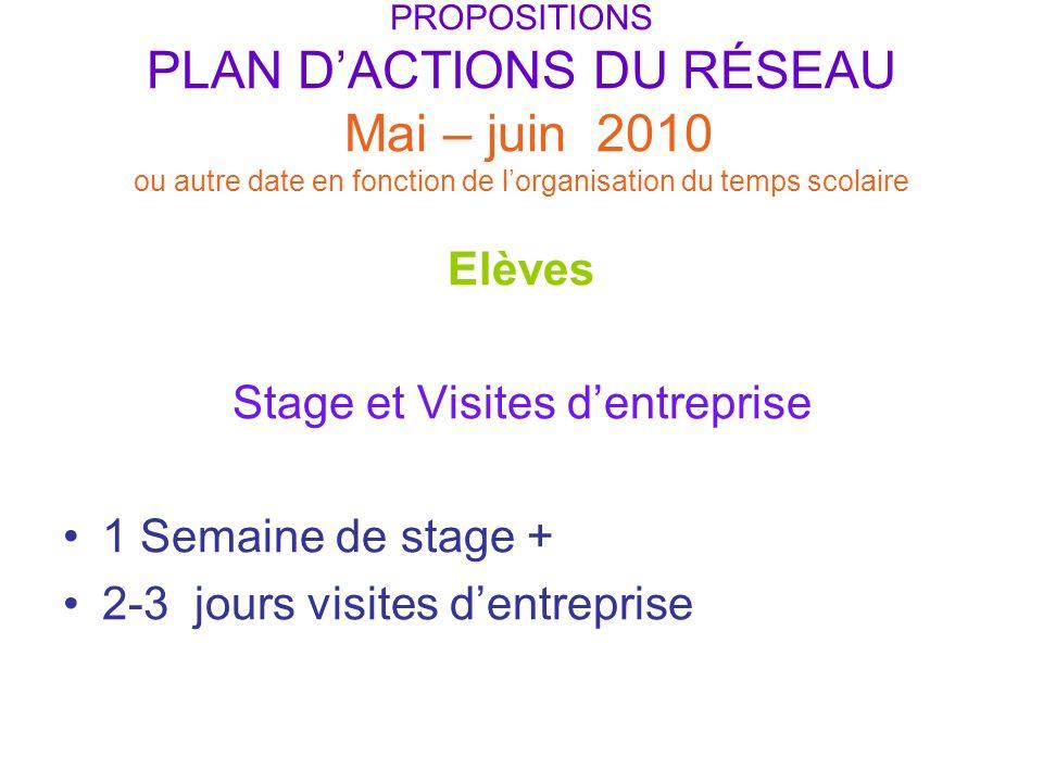 PROPOSITIONS PLAN DACTIONS DU RÉSEAU Mai – juin 2010 ou autre date en fonction de lorganisation du temps scolaire Elèves Stage et Visites dentreprise