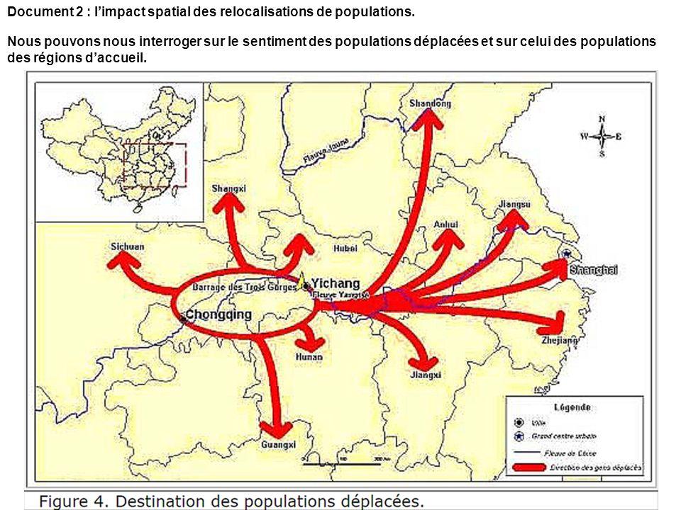 Document 2 : limpact spatial des relocalisations de populations. Nous pouvons nous interroger sur le sentiment des populations déplacées et sur celui