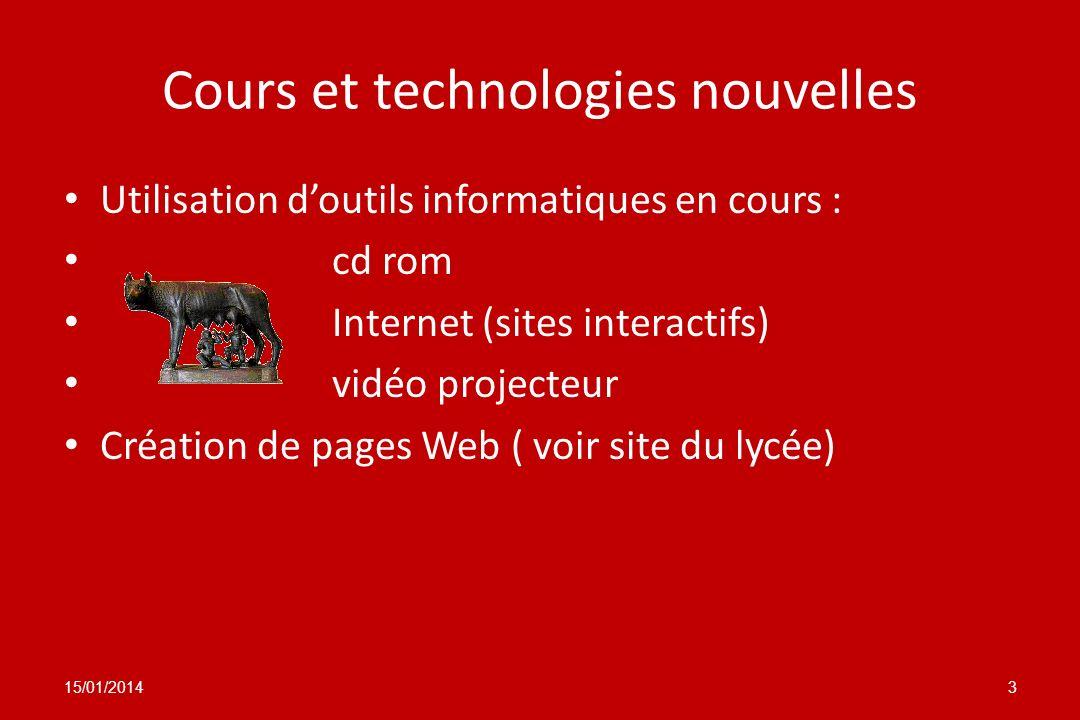 Cours et technologies nouvelles Utilisation doutils informatiques en cours : cd rom Internet (sites interactifs) vidéo projecteur Création de pages We