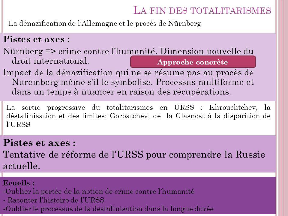 L A FIN DES TOTALITARISMES Pistes et axes : Nürnberg => crime contre lhumanité. Dimension nouvelle du droit international. Impact de la dénazification
