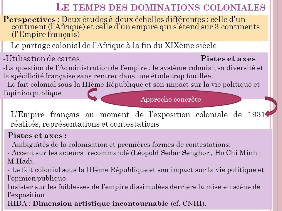 L E TEMPS DES DOMINATIONS COLONIALES Perspectives : Deux études à deux échelles différentes : celle dun continent (lAfrique) et celle dun empire qui s