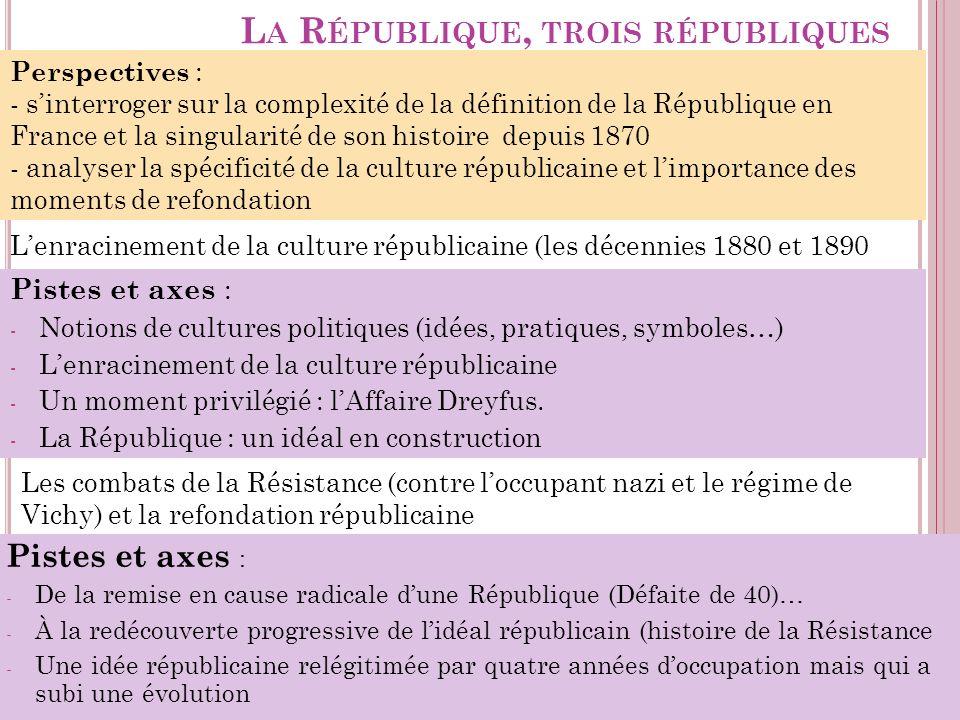 L A R ÉPUBLIQUE, TROIS RÉPUBLIQUES Pistes et axes : - Notions de cultures politiques (idées, pratiques, symboles…) - Lenracinement de la culture répub
