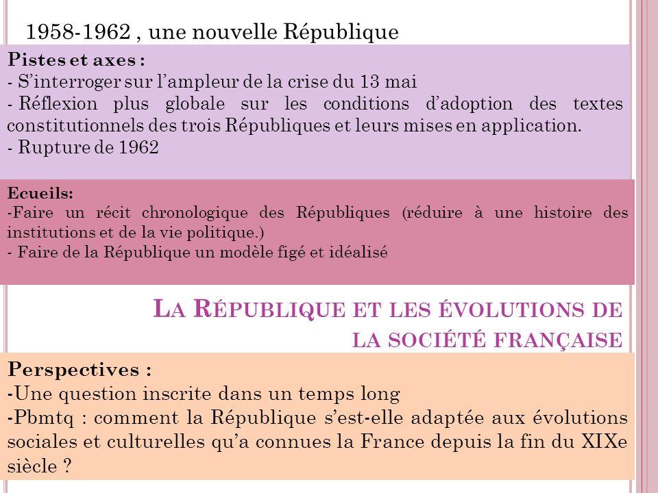 L A R ÉPUBLIQUE ET LES ÉVOLUTIONS DE LA SOCIÉTÉ FRANÇAISE 1958-1962, une nouvelle République Pistes et axes : - Sinterroger sur lampleur de la crise d